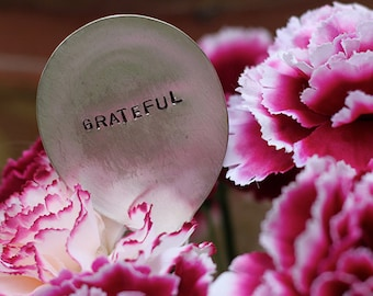 Grateful Silverware Marker (E0521) // home decor // plant marker // stocking stuffers