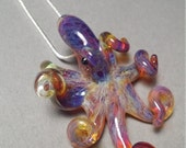 Purple Amber Octopus pendant color changing glass pendant necklace great gift