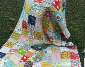 Eclectic, Scrappy, Fun and a Little Bit Retro Lap Quilt/Throw - Teen, Tween, Dorm, Young Adult