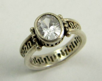 Vintage Sterling Silver Filigree Solitaire Ring, Clear Crystal Faux Diamond Ring, US Size 4.75, UK Size J