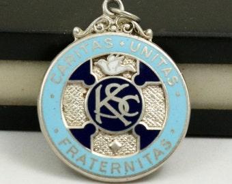 Knights of Saint Columba Sterling Silver Enamel Fob Medal Pendant, Caritas Unitas Fraternitas, Catholic Medal, St Columba
