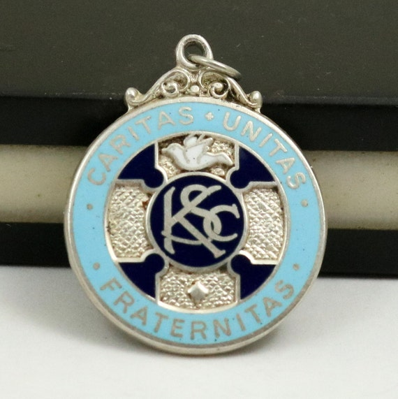 Knights of Saint Columba Sterling Silver Enamel Fob Medal Pendant