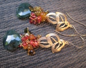 Monterey Cyprus Earrings - Jade, Tourmaline and Garnet Earrings