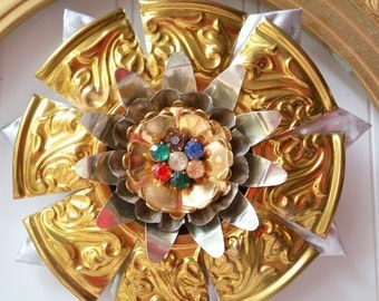 Upcycled Christmas ornament Tart tin vintage jewelry brass altered assemblage mixed media Holiday N28