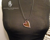 RESERVED For Cookie - Reversible Paper Clay Brown Heart Pendant