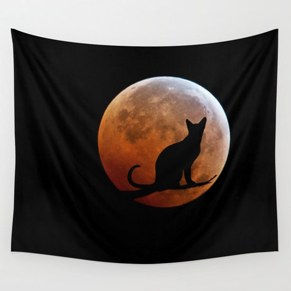 Cat and Blood Full Moon Wall Tapestry,Supermoon Tapestry, Halloween Tapestries, Black, Noir Wall Art, Surreal, Lunar Eclipse Tapestry, Dorm