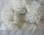 36pc IVORY Wired Satin Organza Rhinestone Seed Beaded Rose Flower Applique Bridal Wedding Bouquet
