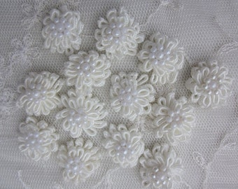 SALE Off White Flowers 12 pc Shabby Chic Baby Doll Satin Soutache Cord  Ribbon w Pearl Bow Bridal Baby Christening