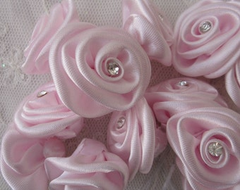 18 pc Chic pink Satin Ribbon Wired Rose Flower w Rhinestone Reborn Doll Bridal Wedding Bouquet Favor Bow Hair Accessory Applique