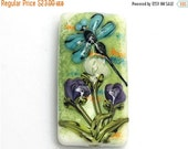 ON SALE 50% OFF Glass Lampwork Bead - Blue Dragonfly w/Purple Flora Kalera Focal Bead 11816603