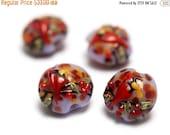 ON SALE 50% OFF Glass Lampwork Bead Set - Four Autumn Red Cardinal Lentil Beads 11007712