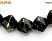 ON SALE 50% OFF Glass Lampwork Bead Sets  - Five Elegant Black Metallic Crystal Beads - 10204107