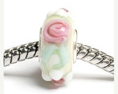 ON SALE 30% OFF Glass Lampwork Beads  - Large Hole Ivory w/Pink Flower Rondelle Bead  - Sc10012
