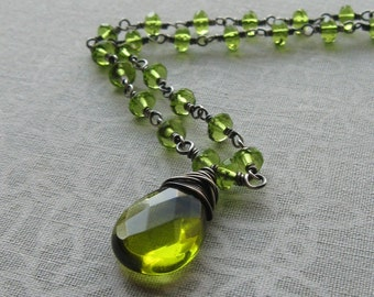 Wire Wrapped Peridot Briolette Necklace