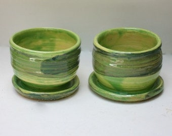 Pair of  Stoneware Succulent Planters In Stoney Glazed with Two Greens For Small Houseplants