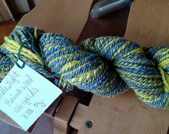 Bulky Handspun Yarn Merino Wool Candlelight in Blue Violet Gray and Yellow  3.88 oz 106 yards