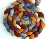 Organic Polwarth Roving - Handpainted Spinning or Felting Fiber, Noon Train