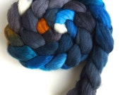 Finn Wool Roving - Hand Painted Spinning or Felting Fiber, Spotted Purple Admiral