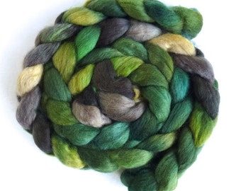 Corriedale Wool Roving - Hand Painted Spinning or Felting Fiber, View from the Hill