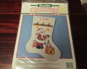 Bucilla Christmas Counted Cross Stitch Stocking Hangin up the Stockings Bucilla 82855 Sealed Package Kit