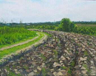 Plowed, original plein air oil painting