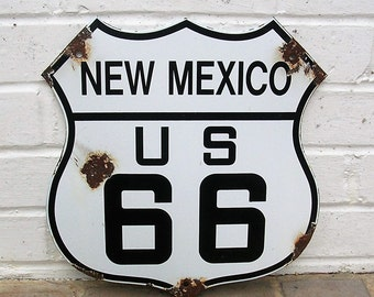 Vintage New Mexico Route 66 Porcelain Sign Get Your Kicks On Route 66 Gas and Oil Sign