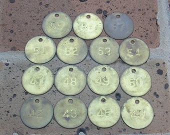 15 Vintage Brass Tags Vintage Number Tags Vintage Numbered Tags Tokens Steampunk Jewelry DIY Jewelry Tag