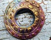 151. A Mayan Dream Wheel Copper Fuchsia Blue Primitive Faux Raku Disk Pendant