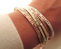 ONE Skinny Cuff Bracelet - Handstamped Bracelet - Inspirational Jewelry - Stacking bracelets - Coordinate Jewelry - Arrow Bracelet