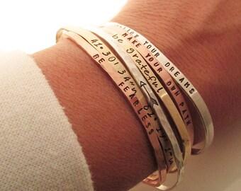 ONE Skinny Cuff Bracelet - Handstamped Bracelet - Mantra - Inspirational Jewelry - Stacking bracelets - Coordinates - Arrow Bracelet