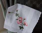 Valentines Day Sale Vintage embroidered hanky pink floral hanky pink flower hanky vintage handkerchief pink embroidered hanky pink handkerch