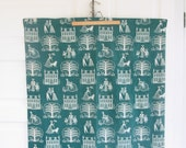 Vintage Drapes Curtains Teal Green Girl Tree Bicycle Fabric Yardage Linens Kitsch