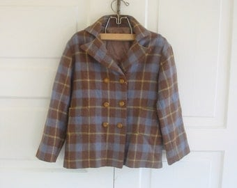 Vintage Boy Girl Jacket Coat Wool Clothes Blue Brown Plaid Checked Size 4T 5T