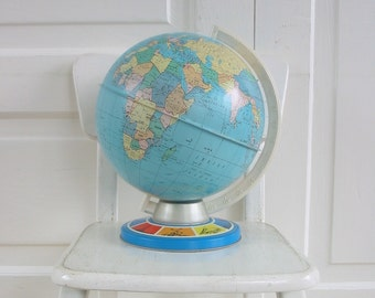 Vintage Globe Metal World Industrial School Blue