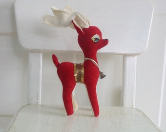 Vintage Red Reindeer Gold Made in Japan Christmas Decor