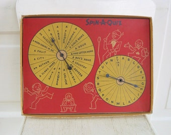 Vintage Game, Game Board Spinner, Spin A Quiz Game, Educational Game, Red Art, Child Wall Hanging Retro
