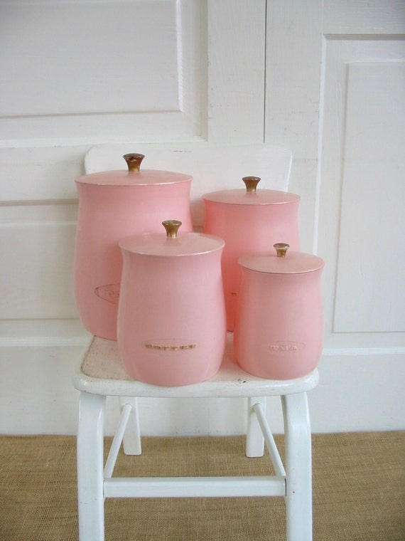 vintage pink canister set plastic canisters retro kitchen