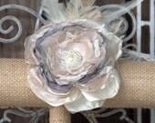 Bridal Wrist Corsage, Feather Corsage, Blush Corsage, Fabric Corsage MOB, MOG Corsage, bridesmaids corsage, Bridal Accessory, Bracelet,Pin