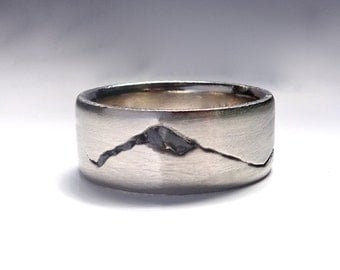 Summit Mountain Ring, 8mm band, Rock Inlay Mountain Ring, Handmade with recyled Silver, Gold, Palladium or Platinum, Mountain Wedding Band