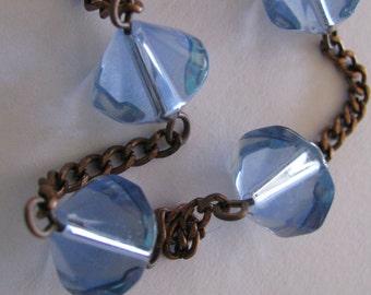 Blue Necklace, Sky Blue Crystal Necklace, Pale Blue and Copper Necklace