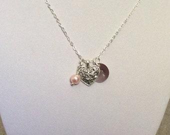 Heart Necklace, personalized jewelry, initial jewelry