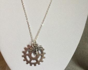 Steampunk Bee Gear Necklace