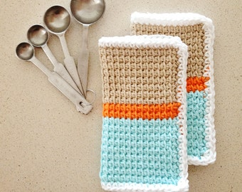 Set of two 100% cotton colorblock crochet dishcloths / washcloths