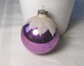 """RARE Shiny Brite PURPLE Mica Snowcap Vintage Blown Glass Larger 3"""" Ornament  - Beautiful Antique Mercury Glass Christmas Ornament"""