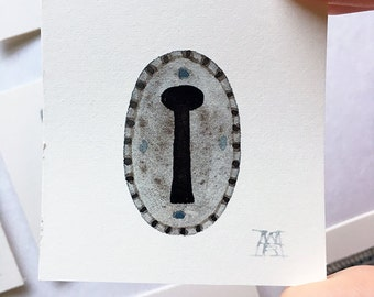 Escutcheon No. 6, miniature watercolor painting