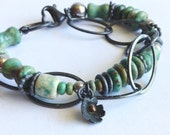 15% off Turquoise and Sterling Silver Chain Bracelet