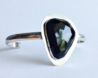 Black Obsidian Cuff Bracelet - Medium Cuff Bracelet - Statement Cuff - Statement Jewelry