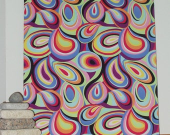 """Sale! Fabric Wall Hanging of a Psychedelic Mod Designer Fabric 24"""" x 19.5"""" x 3/4"""" deep"""