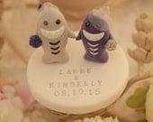 LOVE ANGELS Wedding Cake Topper-love sharks with sweet heart base---k613