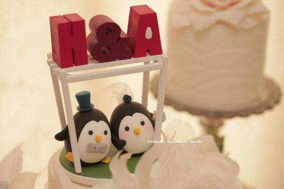 penguins  Wedding Cake Topper-love Penguins